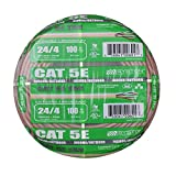 Cat5e Bulk Cable 100ft Pure Copper, Outdoor / Indoor Heat Resistant, Solid 350Mhz, 24AWG, UTP, Riser Rated CMR, Tan by Syston Cable