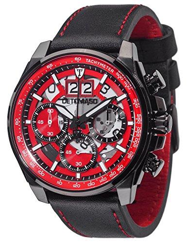 DETOMASO Men's DT2060-C LIVELLO XXL Chronograph Trend Schwarz/Schwarz Analog Display Japanese Quartz Black Watch