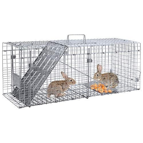 Giantex 32'' Live Animal Cage Trap with Handle, Metal Frame with One Door, Humane Catch Release Cage for Mouse Rat Hamster Raccoon