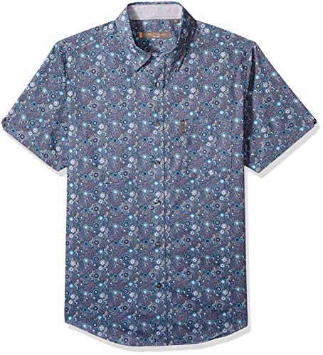 Ben Sherman Men's SS Tonal FLRL Print Shirt, Green XXL