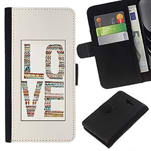 All Phone Most Case / Oferta Especial Cáscara Funda de cuero Monedero Cubierta de proteccion Caso / Wallet Case for Sony Xperia M2 // Love Beige White Text Quilted Letters
