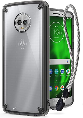 Ringke [Fusion] Compatible with Motorola Moto G6 Case Clear PC Back [Anti-Cling Dot Matrix Technology] Lightweight Transparent TPU Bumper Phone Cover with Wrist Strap for Moto G 6 2018 - Smoke Black