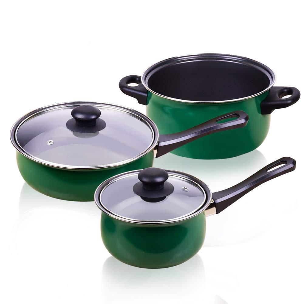 Cookware Set 6-piece Nonstick Stainless by LUFEIYA (Green)