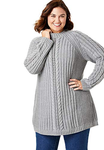 Women's Woman Within Plus Size Pullover Mock Neck Cabled Sweater - Medium Heather Grey, 34/36 (Cabled Mock Neck Sweater)