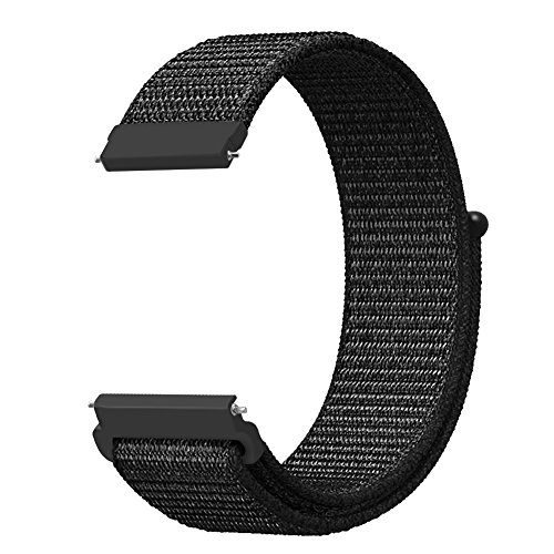 Buckle Mesh Gold (Band for Galaxy Watch 42mm & Gear Sport & Gear S2 Classic, Fintie 20mm Quick Release Nylon Sport Loop Smartwatch Replacement Strap Bands with Adjustable Closure for Men and Women - Black)