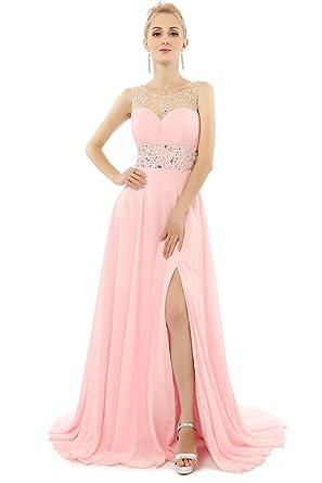 HONGFUYU Womens Perfect Long Pink Evening Dresses Formal Chiffon Prom Gowns Pink UK26