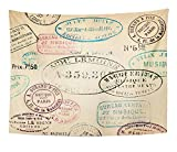 Emvency Tapestry Artwork Wall Hanging French Vintage Stamps Postage Old Collage Travel Label Nostalgia Collection 60x80 Inches Tapestries Mattress Tablecloth Curtain Home Decor Print