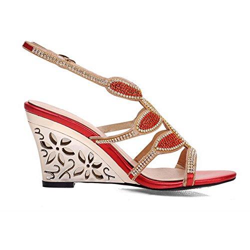 Womens Toe Solid Red AmoonyFashion Heels Buckle High Open PU Sandals dwxEAfX