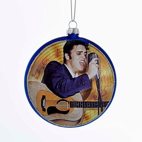 KA Elvis Presley Blue Suede Shoes Glass Disc Ornament 3.5