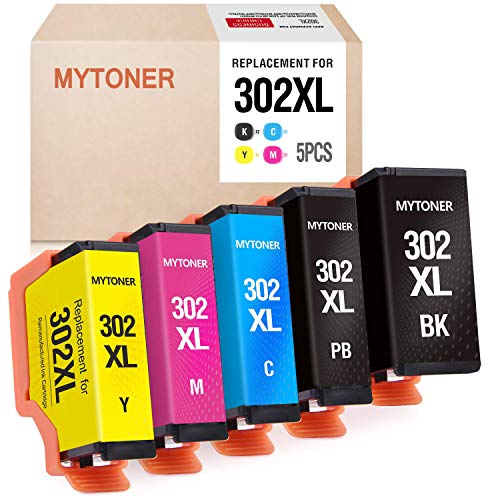 Price comparison product image MYTONER Remanufactured Ink Cartridge Replacement for Epson 302xl T302XL 302 T302 Ink for Expression Premium XP-6000 XP-6100 Printer (Black,  Photo Black,  Cyan,  Magenta,  Yellow,  5-Pack)
