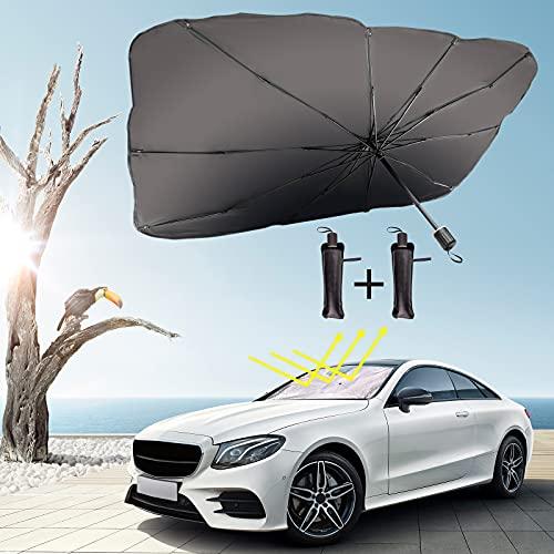 Icnice Car Windshield Sun Shade,2Pack Brella Shield for Car Heat Sun Visor Protector Car Umbrella Automotive Interior Sun Protection UV Reflecting Foldable Front Car Shade M&L Size Fit Most Vehicles