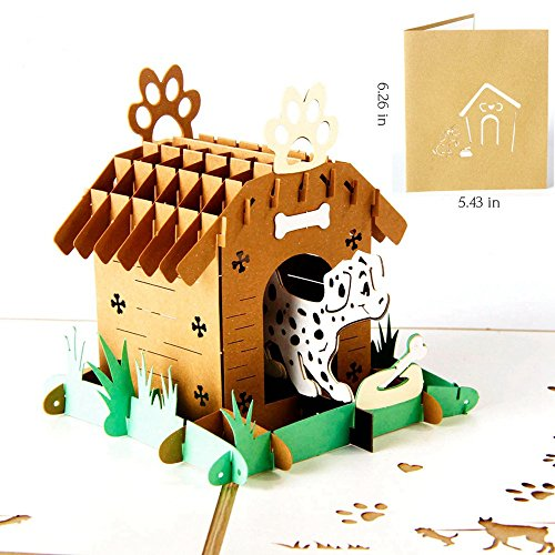 Birthday Card - 3D Pop Up Dog House Greeting Card - Happy Anniversary Birthday Invitation Card - Birthday Gifts for Kids