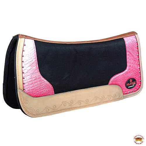 HILASON Western Wool Felt Gel Horse Saddle Pad W/Pink Alligator Print Leather