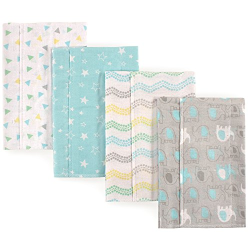 Luvable Friends Baby Layered Flannel Burp Cloth, Gray Elephant 4Pk, One Size