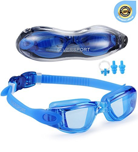 EverSport Swim Goggles, Pack of 2 Swimming Goggles, Swim Glasses No Leaking Anti Fog UV Protection for Adult Men Women Youth Kids Child, Shatter-Proof, Watertight, Triathlon Goggle Mirrored/Clear Lens from EverSport