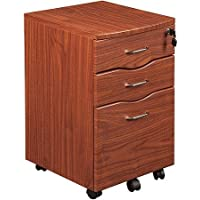 Rolling File Cabinet in Mahogany for Office and Home Supplies Organization