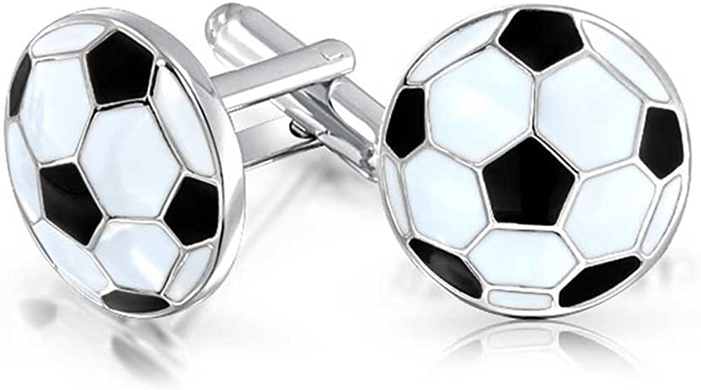 Bling Jewelry Mens Sports Coach Black White Enamel Football Soccer Ball Cufflinks for Men Hinge Back Silver Tone Stainless Steel