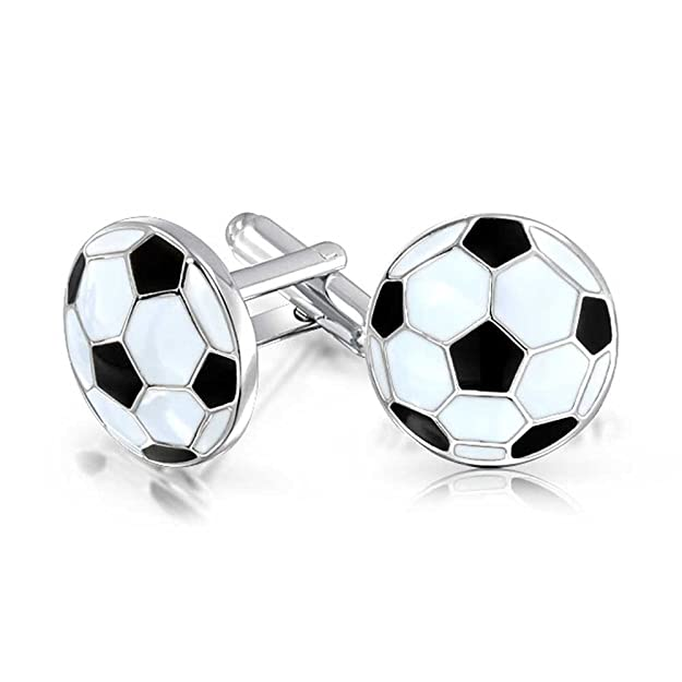 Bling Jewelry Soccer Football Sports Coach Black White Cufflinks for Men Shirt Cuff Links Hinge Back Stainless Steel Enamel