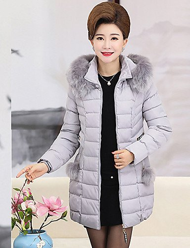 Size Camouflage Polypropylene Simple Casual Women'S ZHUDJ Solid Cotton Plus Gray Vintage Out Coat Cotton Regular Daily Cute Going Polyester Padded XL q8qnxT6wP