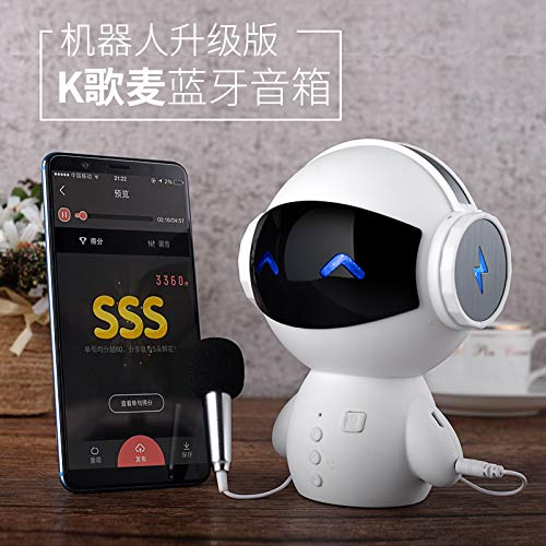 Robots, Wireless Bluetooth Speakers, Mini Cute, Portable Subwoofer, Millet Phone, Home Small Audio Microphone,White (Robot Biking)