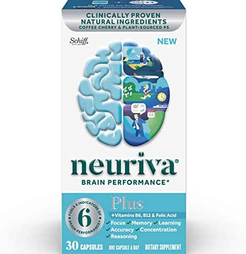 Brain Support Supplement - NEURIVA Plus (30 count in a bottle), Plus B6, B12 & Folic Acid, Supports 6 Indicators Of Brain Performance: Focus, Memory, Learning, Accuracy, Concentration & Reasoning