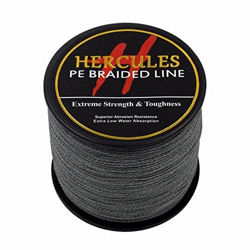 Hercules 500m 547yds Gray 6lbs-100lbs Pe Dyneema Braid Fishing Line 4 Strands (50lb/22.7kg 0.37mm)