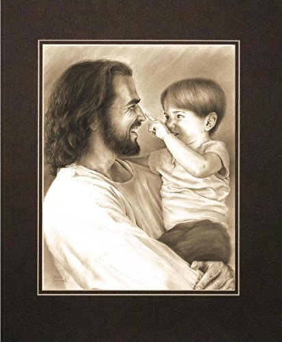 David Bowman Innocence Wall Art Print Jesus Christ Holding Child Religious Spiritual Christian Fine Art Charcoal Matte 16 x20