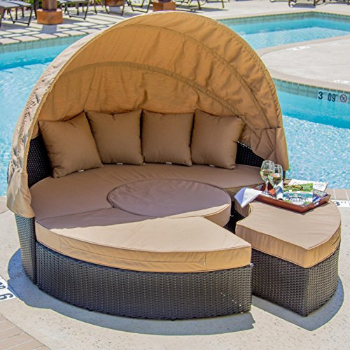 Island Daybed (Lakeview Outdoor Designs Avery Island Resin Wicker Patio Daybed, Espresso)