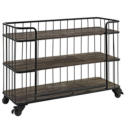 Modway Cinch Industrial Modern Rustic Metal and Wood Stand