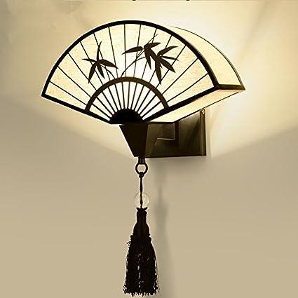 赠送 Led 光源 H-M-STUDIO Applique E14 Nouvelle Lampe De Mur Chinois Simple R/étro Chambre De Chevet Ventilateur Style Chinois Moderne Couloir Couloir H/ôtel Salon Lampes 壁灯