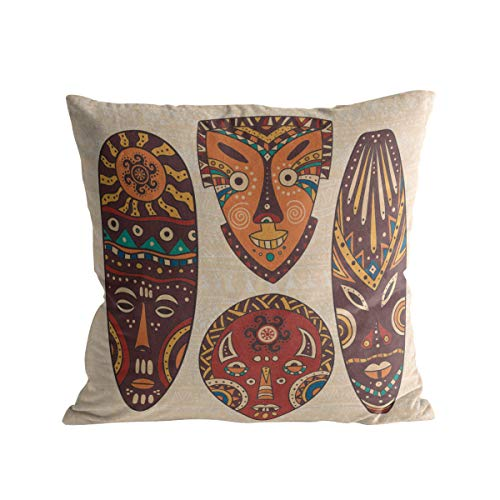 Caffling Velvet Soft Decorative Square Throw Pillow Covers Euro Shams Cushion Cases Pillowcases for Sofa Couch Chair Bedroom Car Back Seat, African Religion Mystic Masks, 16
