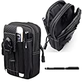 Amy Compact Nylon Tactical Military Cellphone Holster EDC Accessory Army Camo Waist Bag Utility Gadget Pouch Molle Tool Pouch for iPhone 6 6S Plus Samsung Galaxy Note 5 4 3 S5 S4 S6+Stylus Pen(Black)