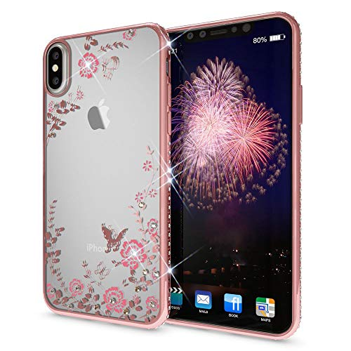 NALIA Rhinestone Case Compatible with iPhone X XS, Ultra-Thin Silicone Back-Cover Crystal Flower Pattern, Protective Slim Skin Shockproof Gel Bling Smart-Phone Protector Bumper, Color:Light Pink