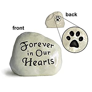 """Forever in Our Hearts"" Engraved in Stone with Paw Print on the Back"