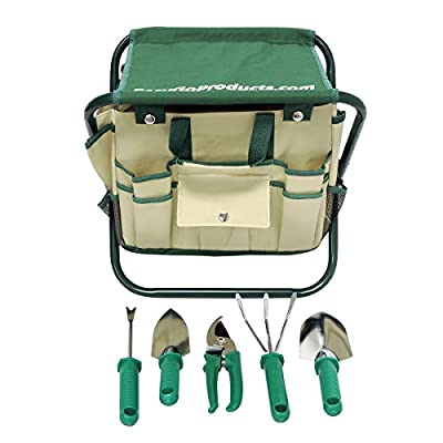 7 Piece Garden Seat Tool Set. Kit Includes 5 Tools: Pruner, Hand Shovel, Cultivator (Hand Rake or Hoe), Trowel, and Weeding Fork. Folding Stool Seat and Detachable Storage Tote Bag