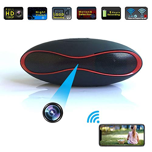 Hidden Camera WiFi Bluetooth Speker, 4K Video Wireless Stereo Music Player Spy Camera Hidden Cameras Covert Nanny Cam for Office/Outside Home Surveillance Night Vision Motion Detection 2020 Upgraded