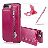 Hot Pink Zipper Leather Case for iPhone 8 Plus,Multifunctional Wallet Flip Case for iPhone 7 Plus,Herzzer Stylish Premium Slim Fold Stand Credit Card Holders with TPU Back Case