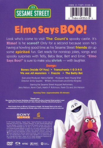 elmo says boo dvd Elmo visits the count's spooky castle, where his friends have come for some halloween fun.