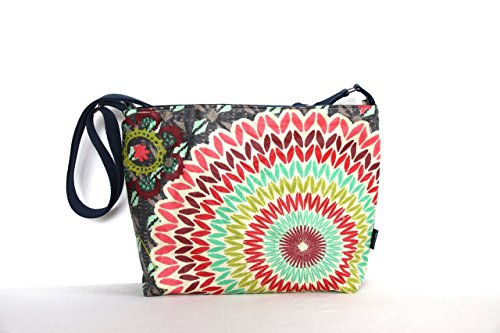 (Medium Zip Top Cross Body Pocketbook Purse Handbag in Retro Funky Slate Print Showerproof Fabric)
