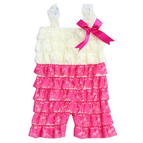 4854271999a Zcaynger Baby Girls Lace Romper Spaghetti Ruffle Tiered Jumpsuit ...