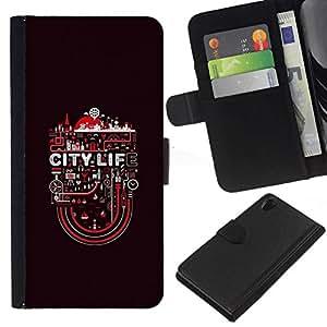 All Phone Most Case / Oferta Especial Cáscara Funda de cuero Monedero Cubierta de proteccion Caso / Wallet Case for Sony Xperia Z2 D6502 // City Life