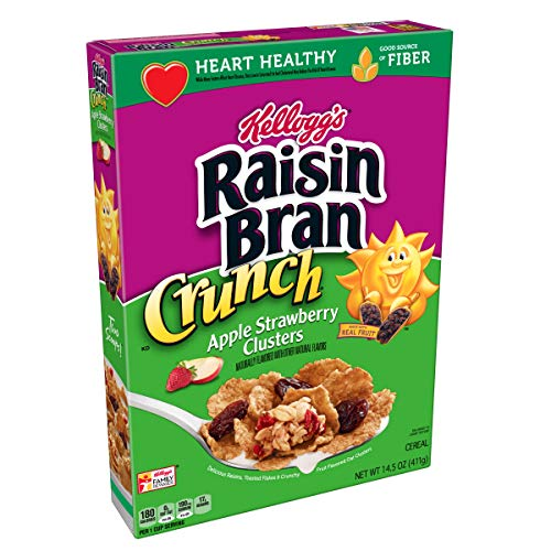 Kellogg's Raisin Bran Crunch, Breakfast Cereal, Apple Strawberry, Good Source of Fiber, 14.5 oz Box(Pack of 10) ()