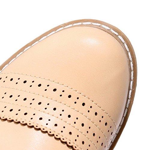 Amoonyfashion Kvinna Pu Låga Klackar Rund Tå Fasta Lace-up Pumpar-shoes Beige