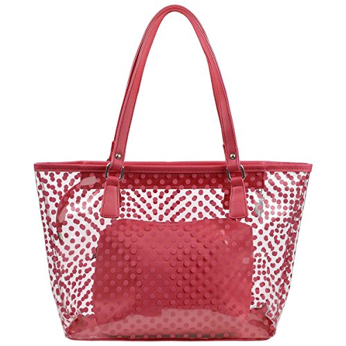 Beach Bag Red - MICOM Cute Neno Candy Color Polka Dot Clear Bags Beach Tote Shoulder Handbag (Red)