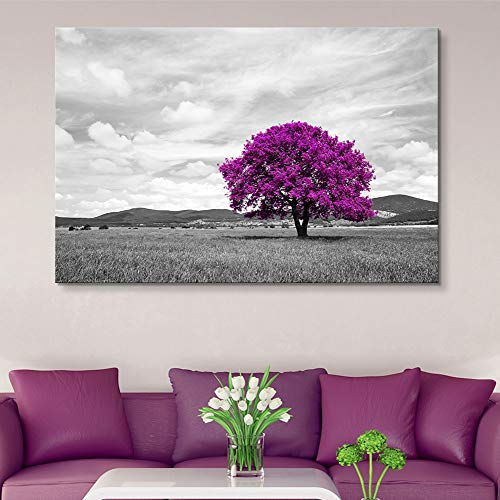 Pop Color of Purple Tree on Black and White Landscape