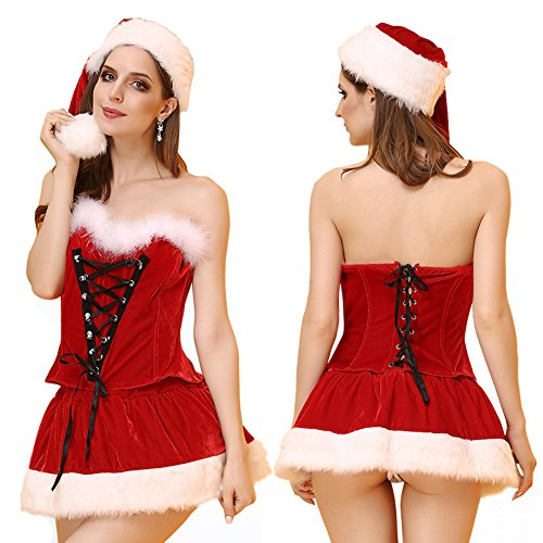 Mrs Claus Costume Images (BADI NA Sexy Lingerie Bra Suits Red Santa Costume Mrs Christmas Party Suits EH506 M)