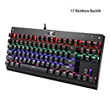 E-YOOSO Mechanical Gaming Keyboard 87 Keys Compact USB Wired Keyboard with LED Multi-Color Backlit