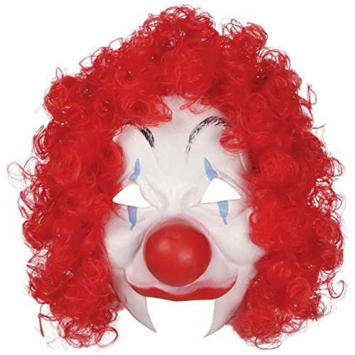 Female Mime Costume Makeup (Loftus Halloween Clown Costume Face Mask, White Red, One Size)