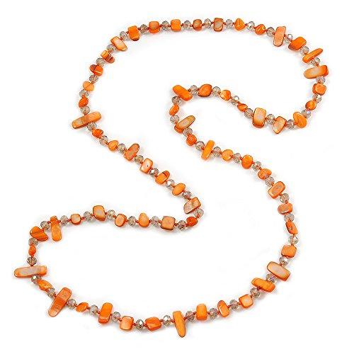 Avalaya Long Orange Shell/Transparent Glass Crystal Bead Necklace - 120cm -