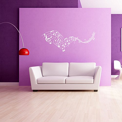 Music Staff Wall Decal by Style & Apply - Musical Notes Wall Sticker, Treble Clef Vinyl Wall Art, Music Home Decor, Music Notes Wall Mural - 4215-0 - White, 24in x 9in (Music Staff Notes)